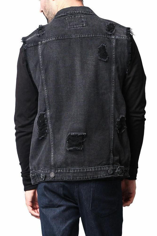 lifehe men denim jacket with patches light