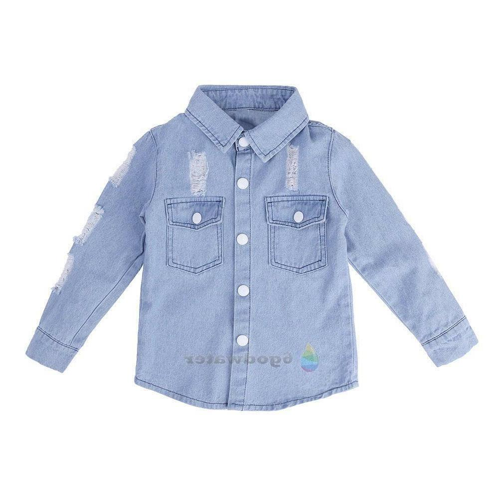 Toddler Kid Baby Girls Boys Clothes Hole Washed Denim Jeans