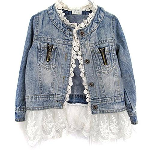Verypoppa Baby Girls Autumn Lace Denim Jacket Outwear