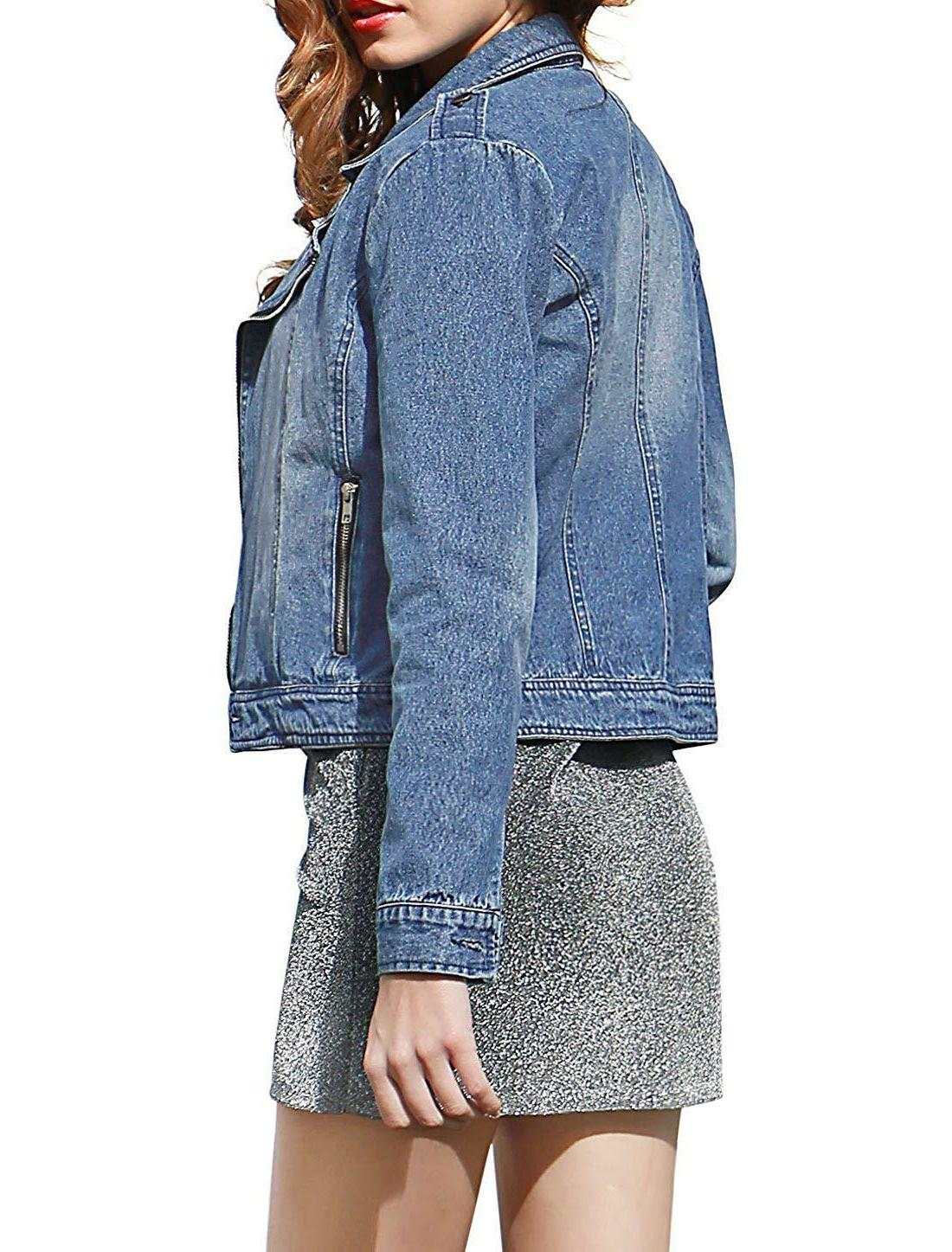Allegra Lapel Asymmetric Zip Moto Denim Jacket