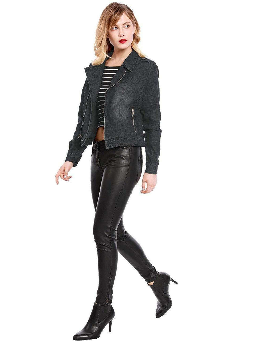 Allegra Lapel Asymmetric Zip Closure Moto
