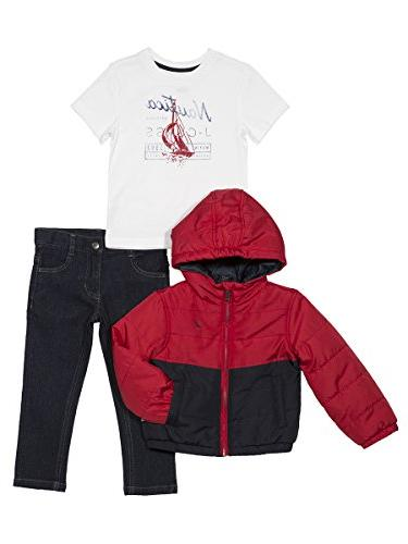 baby boys color block puffer jacket tee