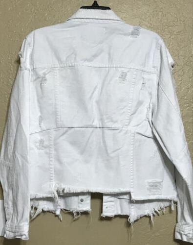 Blank White Distressed Asymmetrical Ripped Jacket