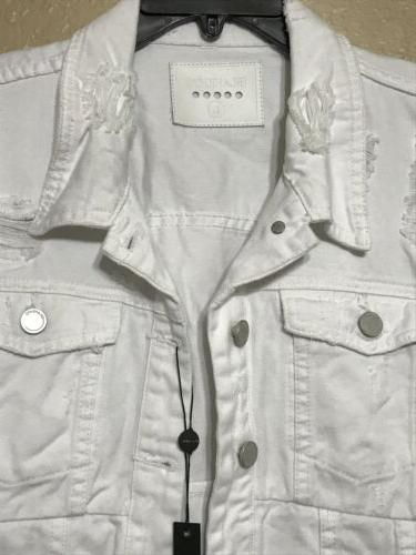 Blank NYC White Distressed Asymmetrical Denim Jacket Size LARGE