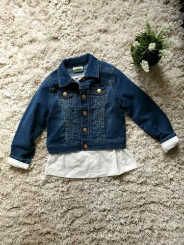 denim button up jacket with white ruffled