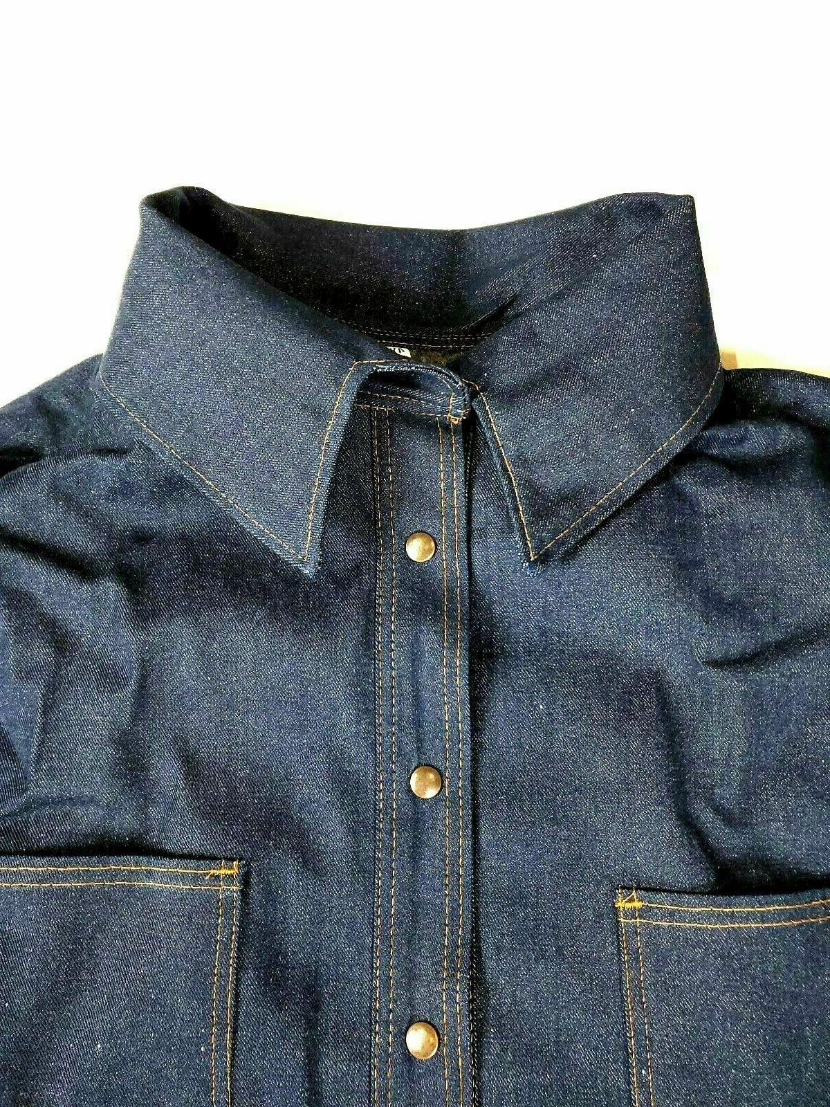 Denim Jacket Coat Heavy Blanket Lined Chore Field Barn 4 poc