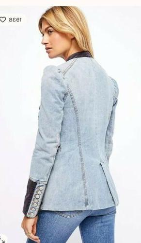 Free People Denim And Structed Military Denim Jacket M