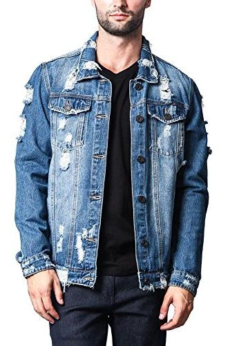 distressed denim jacket distressed indigo x large