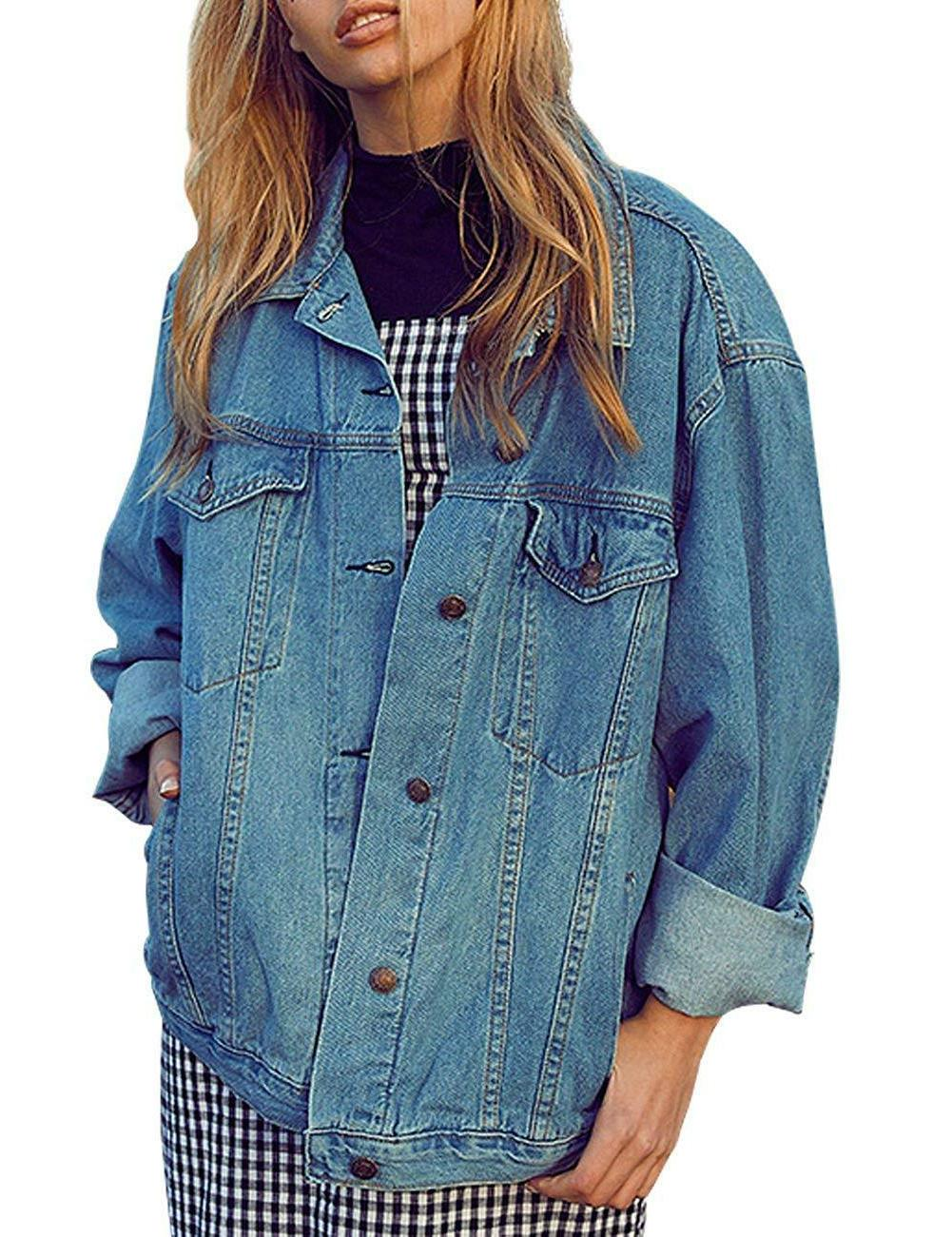 Eliacher Jacket Long Sleeve Loose Jean Coats