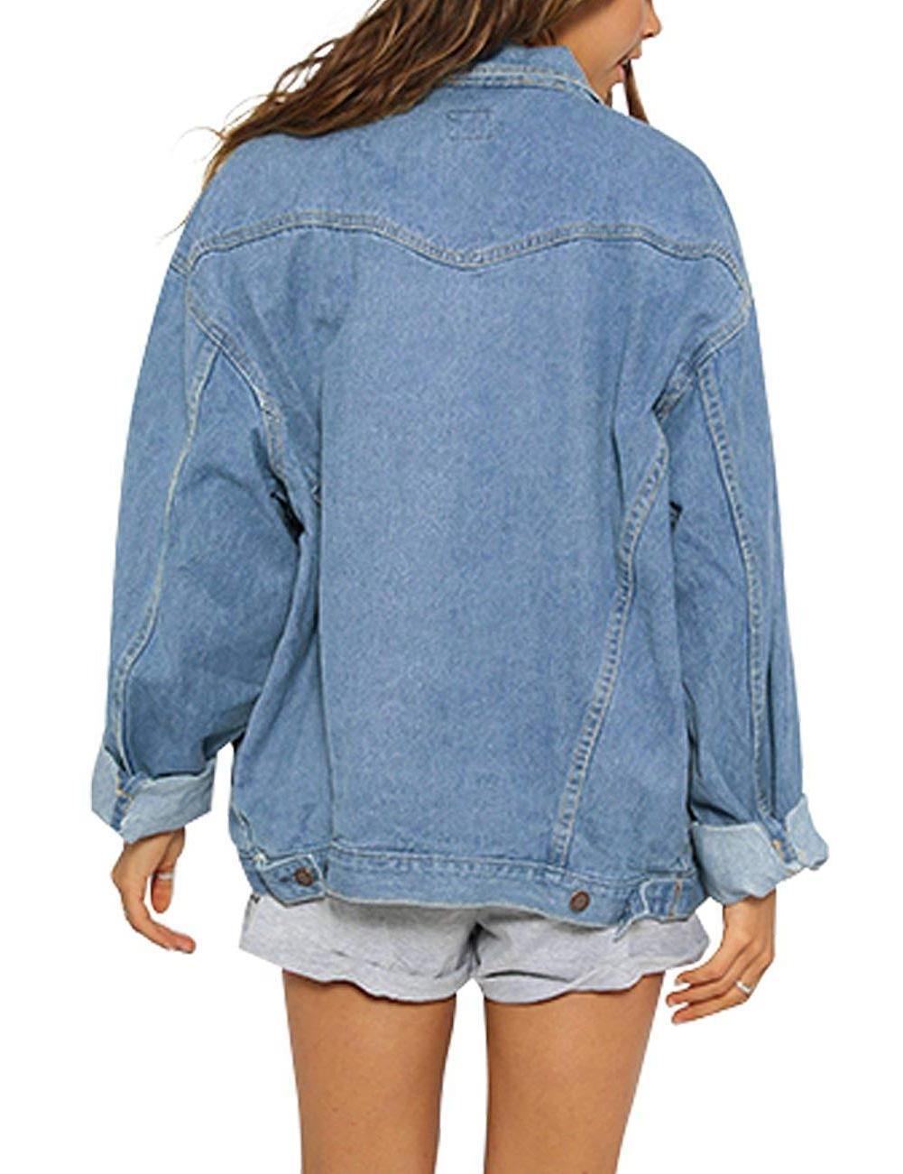 Eliacher Women's Boyfriend Denim Jacket Long Sleeve Jean Coats