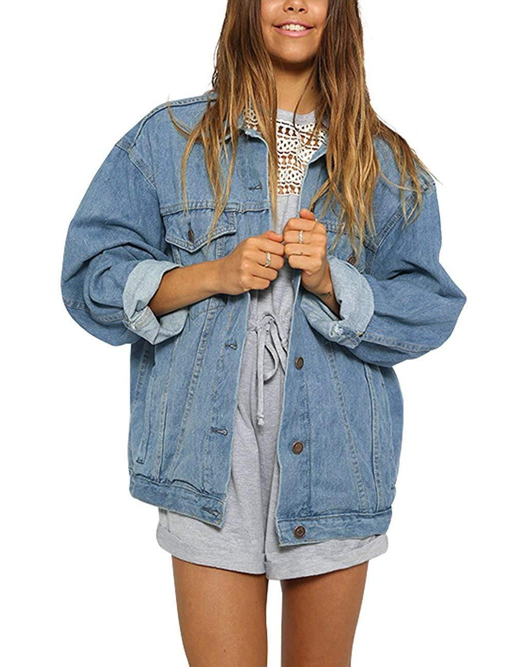 eliacher women s boyfriend denim jacket long