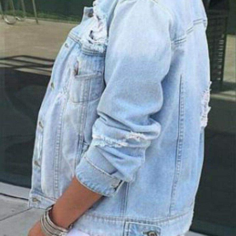 2019 Sleeve Coat Denim Jean Size Outwear