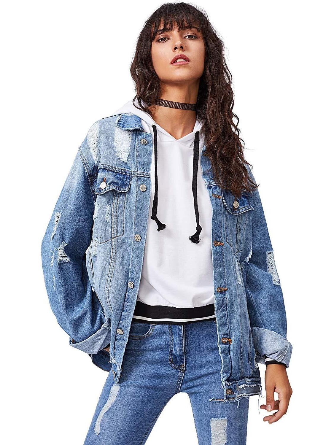 Floerns Ripped Distressed Casual Long Denim Jacket