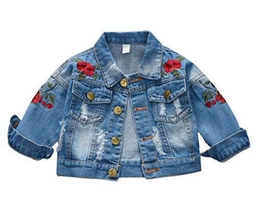 floral embroidered denim jacket casual