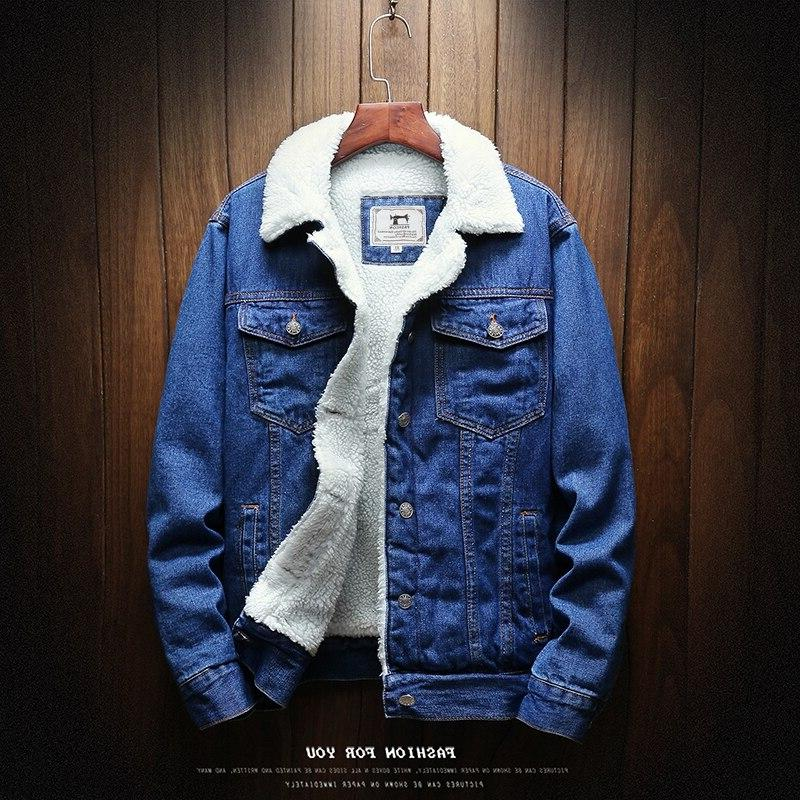 <font><b>Men</b></font> <font><b>Light</b></font> Jean <font><b>Jackets</b></font> Warm Denim Coats New <font><b>Men</b></font> Large Thicker Size6XL