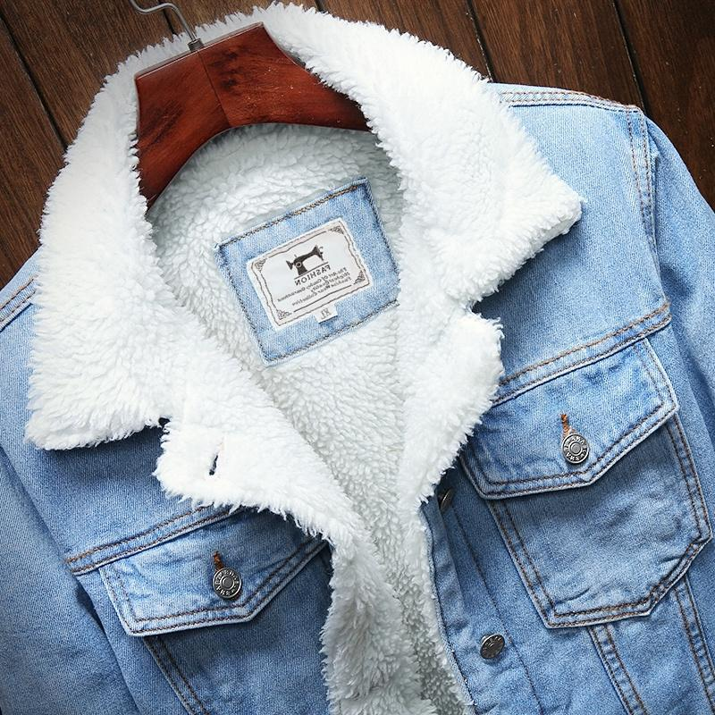 <font><b>Men</b></font> Blue Jean Outerwear Warm Denim <font><b>Men</b></font> Large Size Wool Liner Thicker Winter