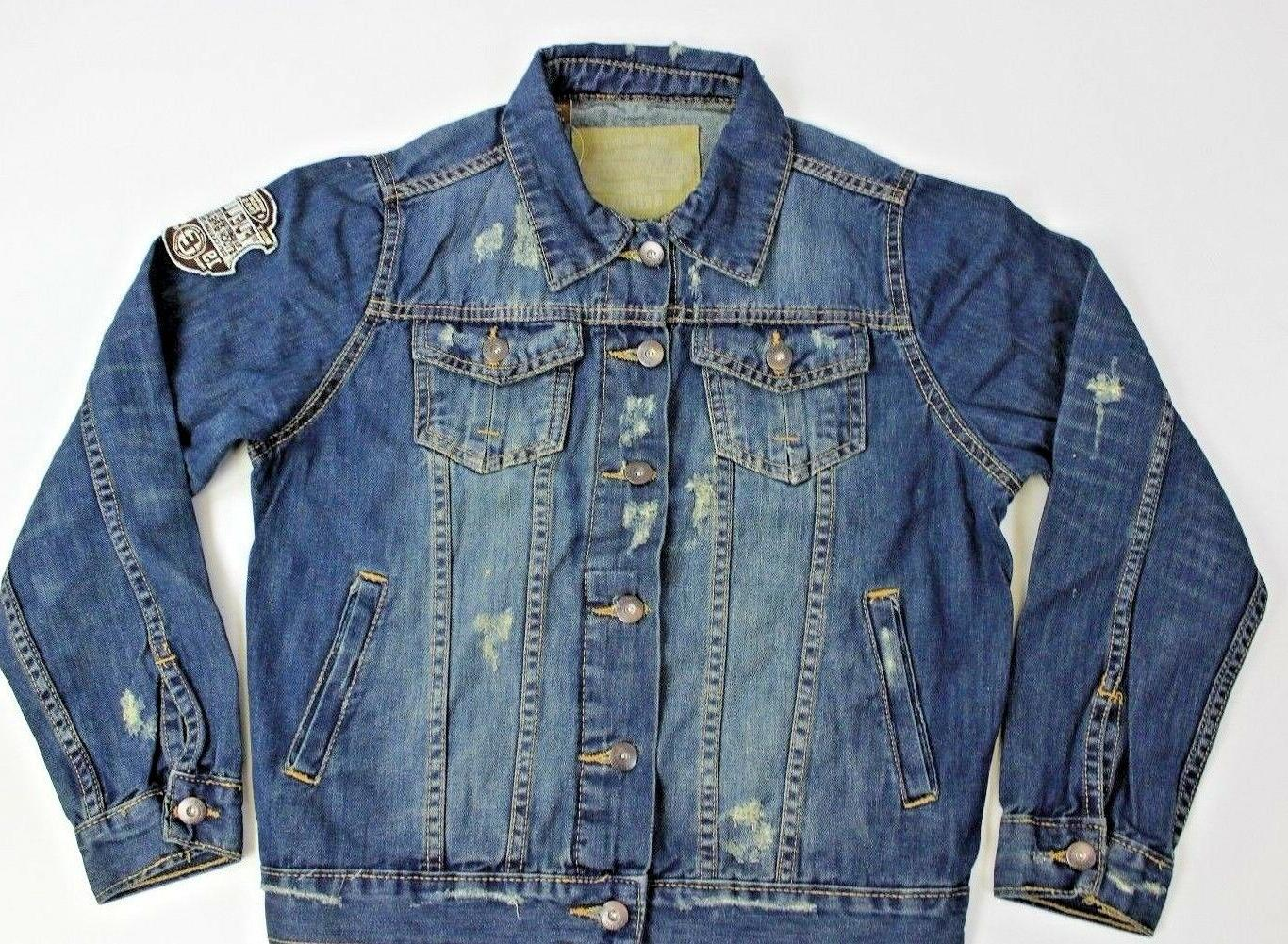 jacket 6gd11j junior percent 100 cotton blue