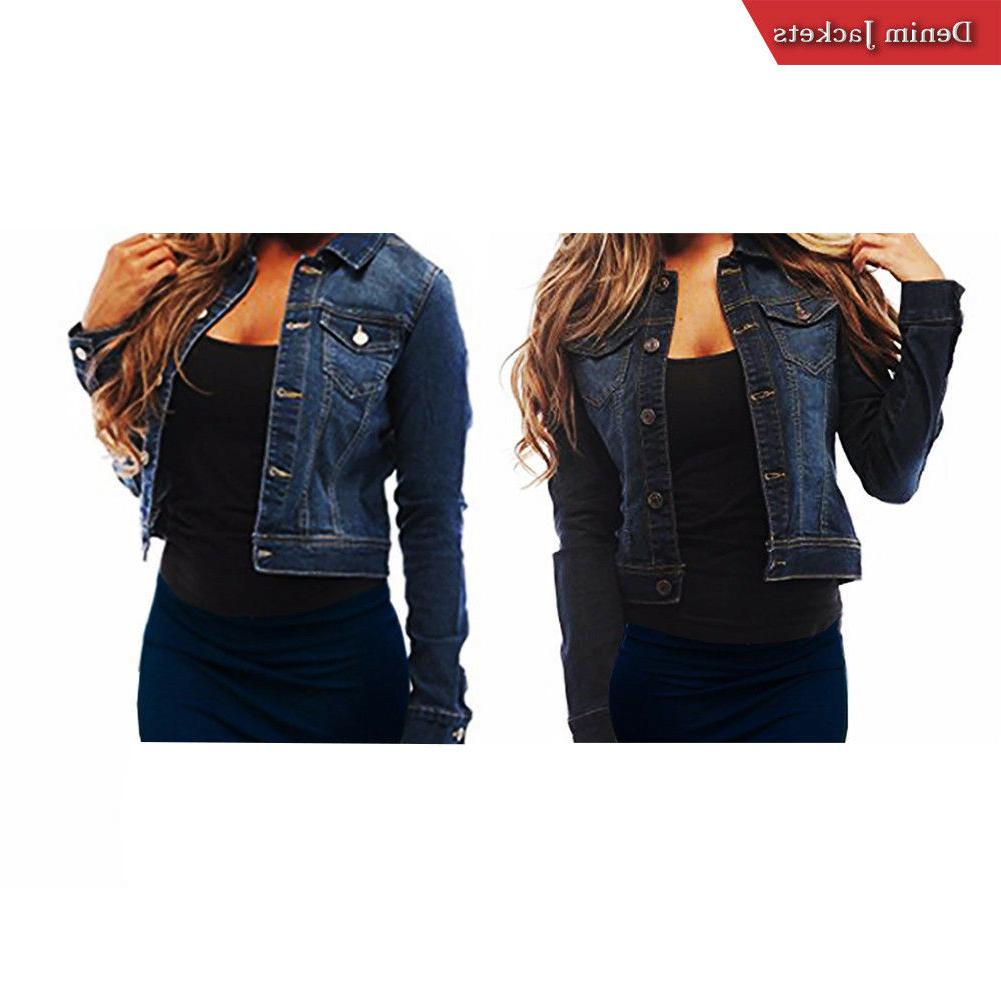 ladies soft denim full sleeve button jacket