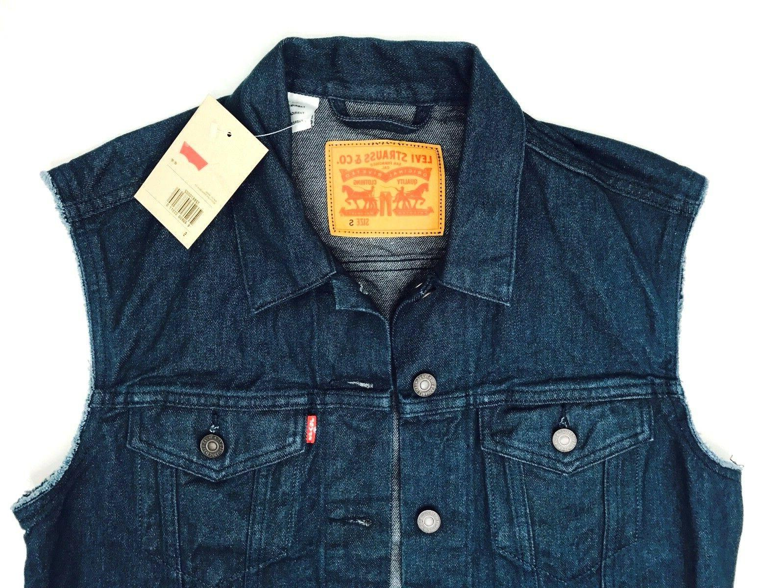 levis denim trucker biker vest mens jean