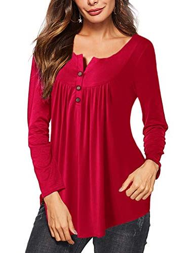 Amoretu Long Hneley Casual Button Red M