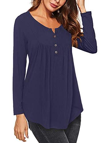 long sleeve tunic tops solid