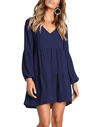 Amoretu Long Sleeve Tunics Loose Casual Shift Dress