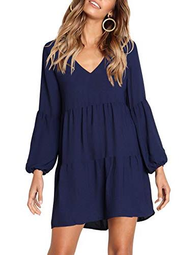 Amoretu Tunics Loose Shift Dress Navy