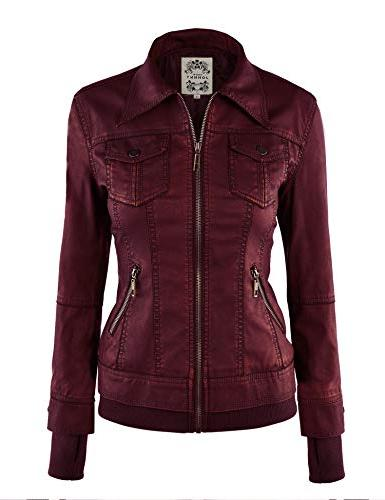 Made By WJC664 Womens Leather Jacket Wine