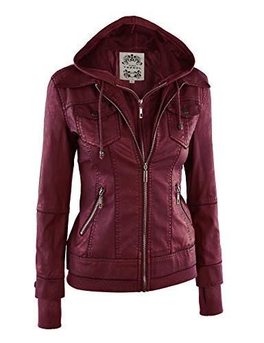 Made By WJC664 Womens Faux Leather Jacket Wine