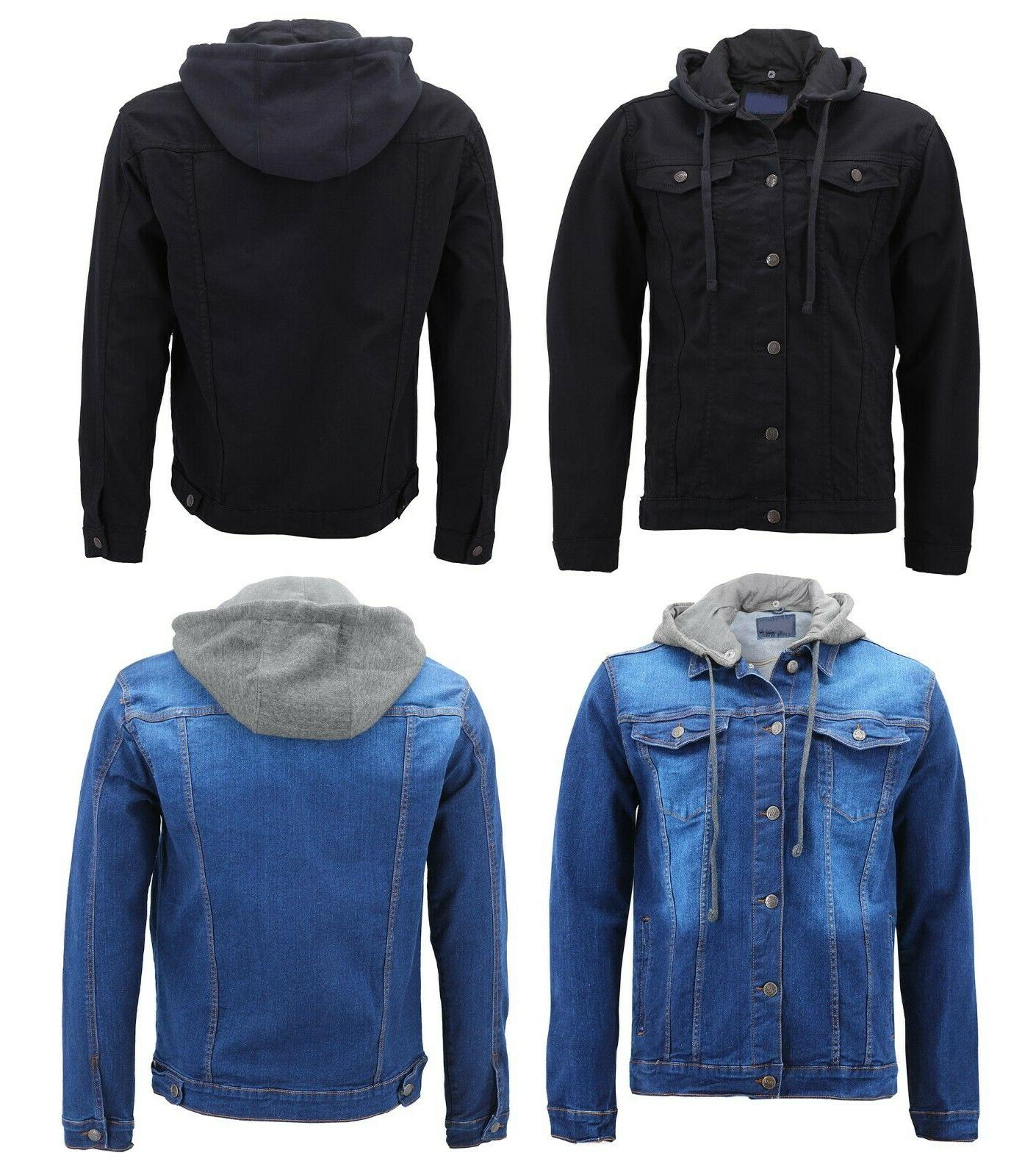 men s cotton hooded slim fit denim