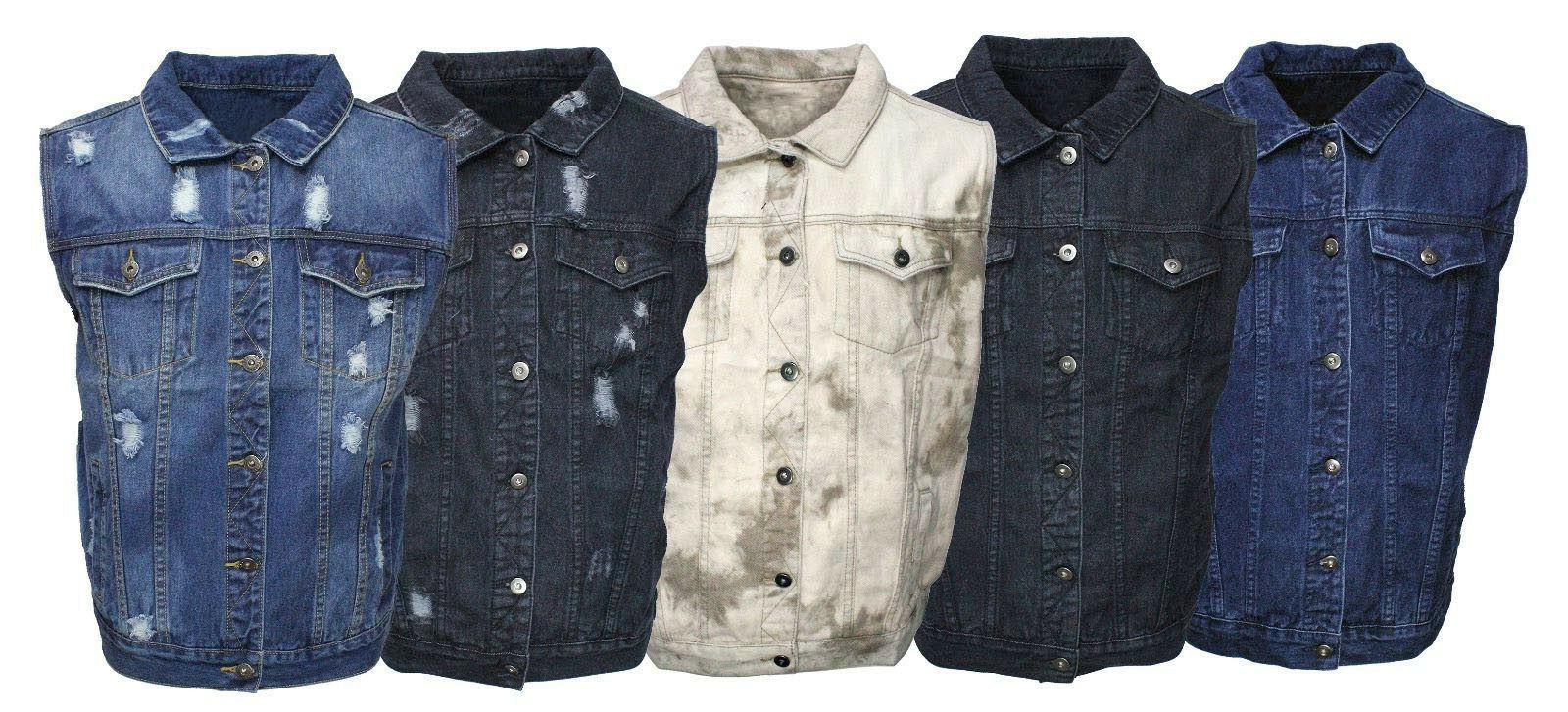 men s denim biker motorcycle vest jacket