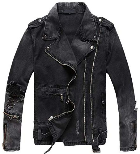 men s distressed double zip belted ripped