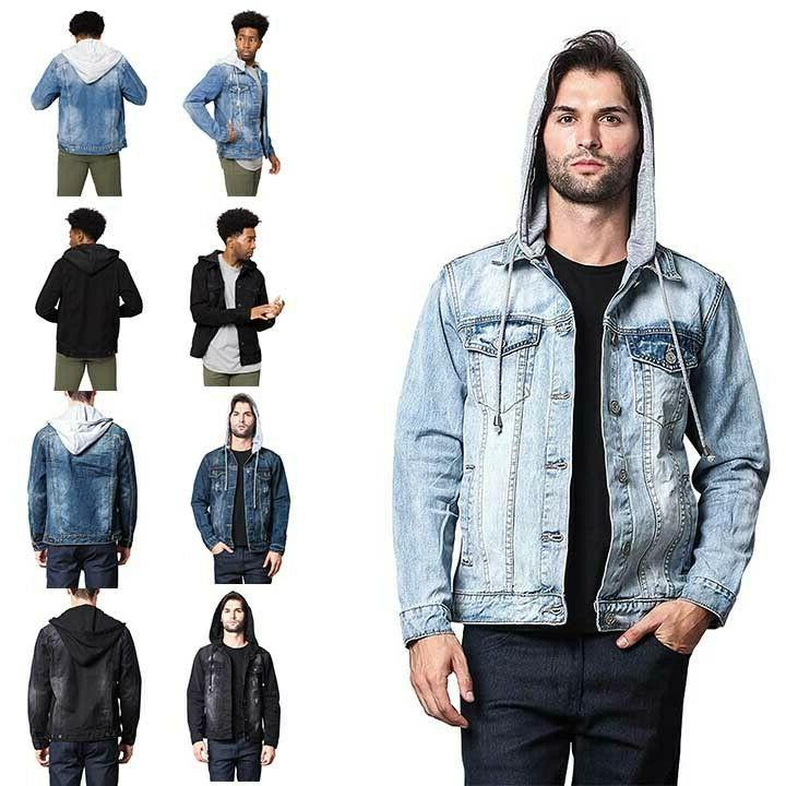 men s distressed with removable hoody wash
