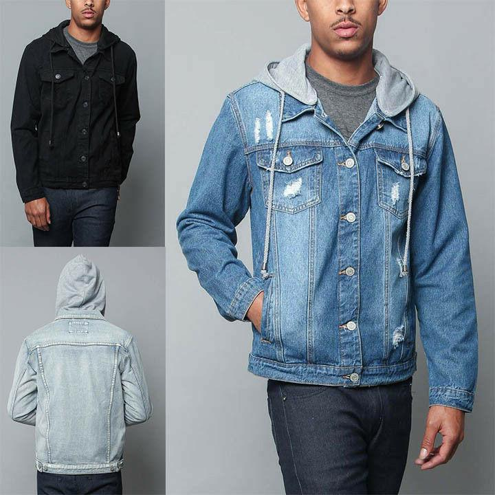 men s hoodie ripped denim jacket