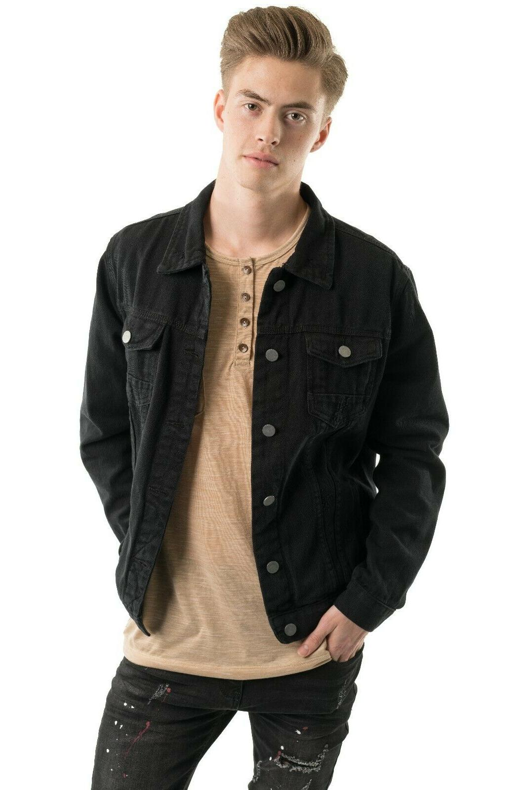 Men's Denim Jacket Distressed Jean Motorcycle