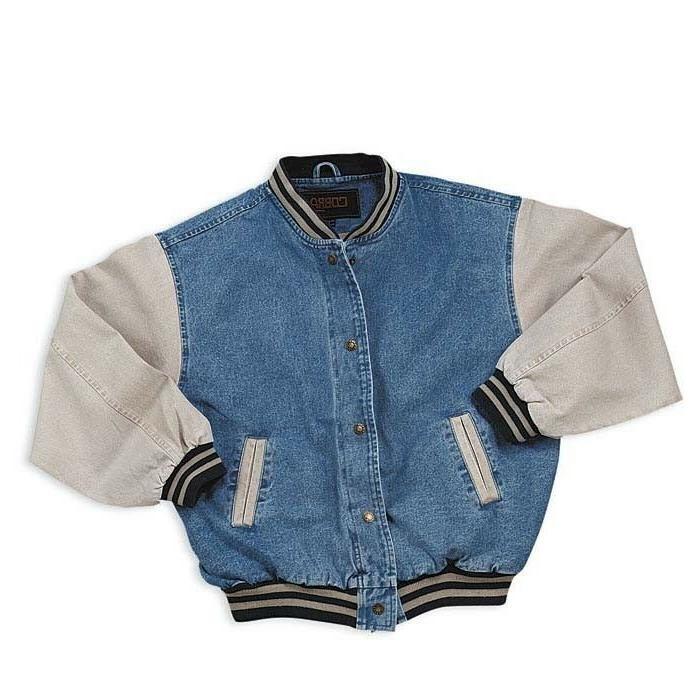 men s washed vintage denim varsity jacket