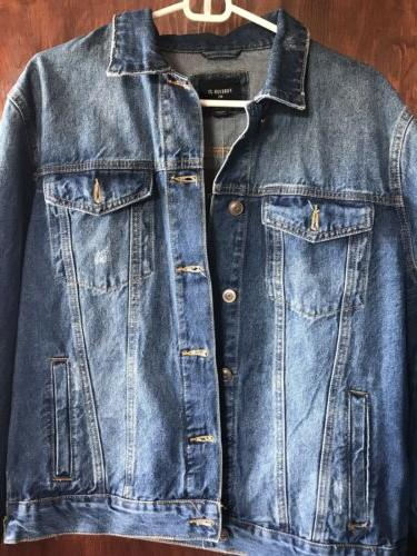 mens distressed denim jacket side zippers new