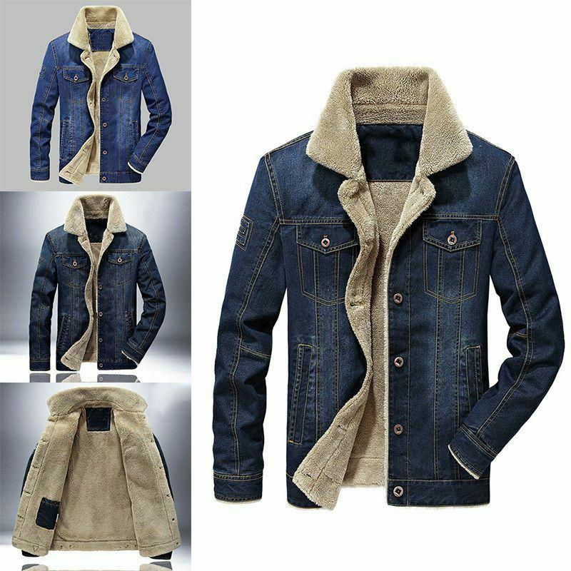 Mens Premium Sherpa Lined Classic Button Jeans Trucker Coat