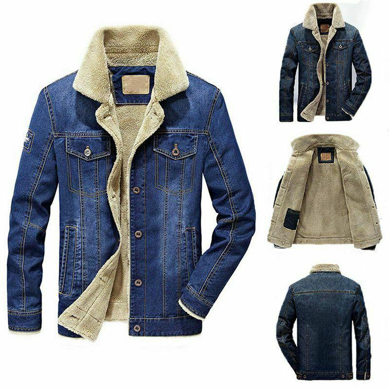 Mens Lined Button Jeans Coat