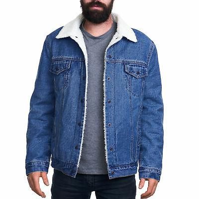 mens sherpa lined denim jacket classic button