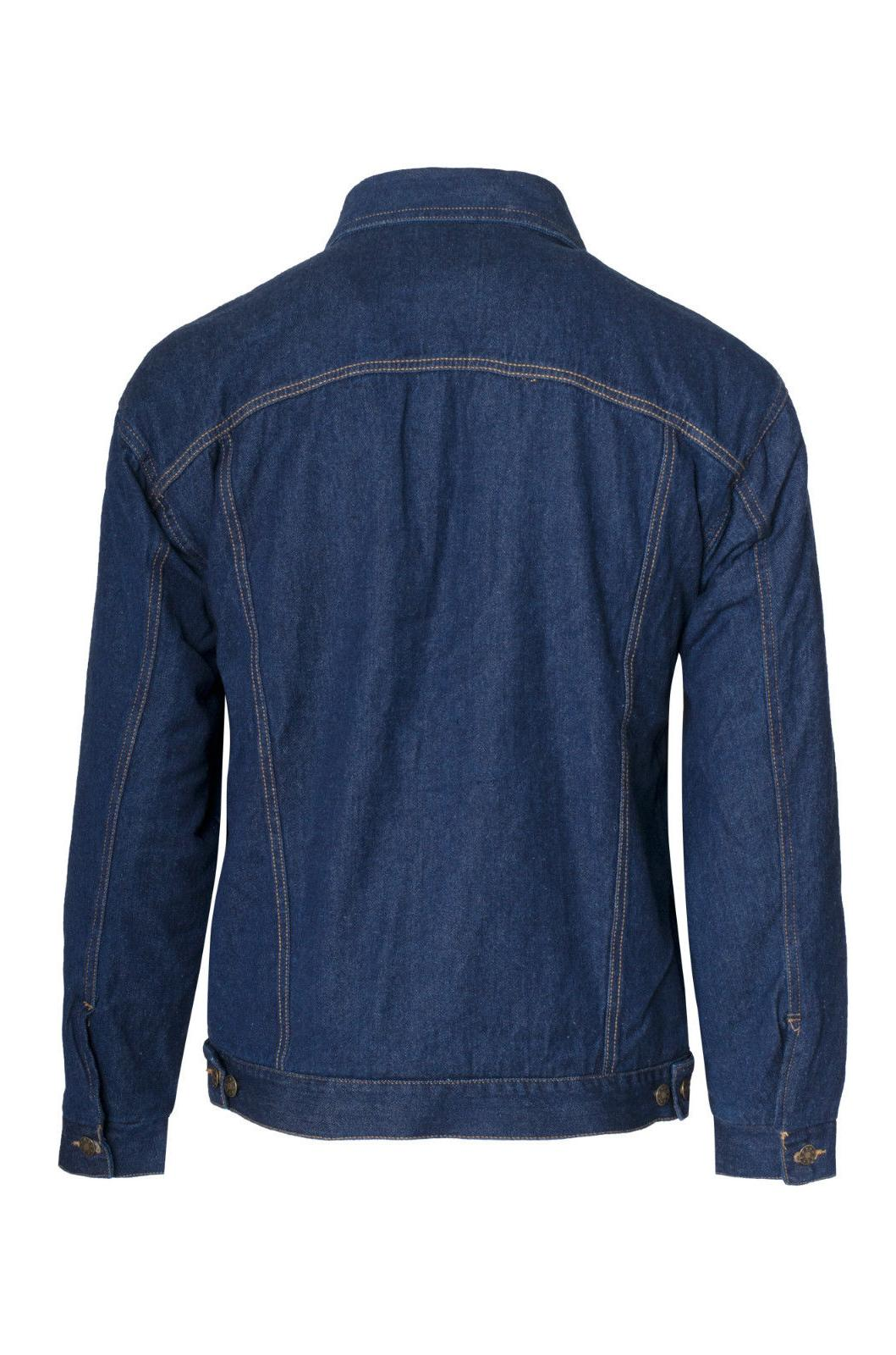 Mens Lined Jacket Long Thermal Jean Coat Button Up