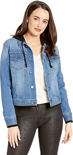 Kenneth Cole New York Womens Hooded Denim Jacket Skylinewash