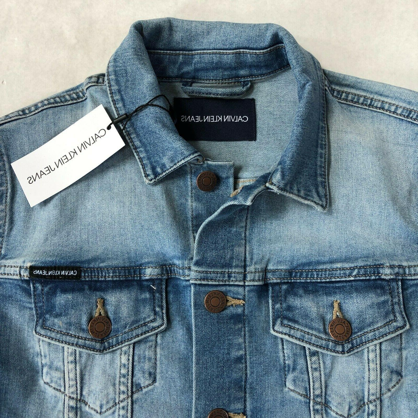 NWT Klein Cotton Frayed Trucker Denim Jacket L