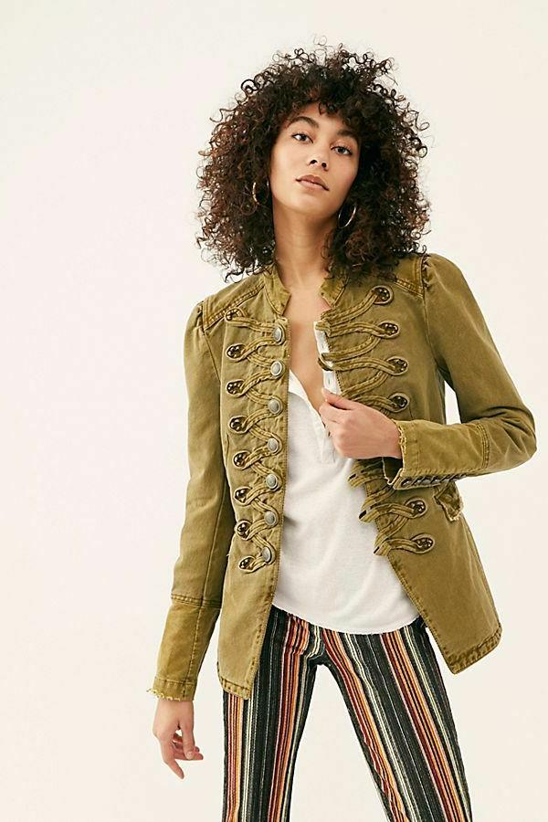 Free People Seamed And Structured Jacket NEW Green