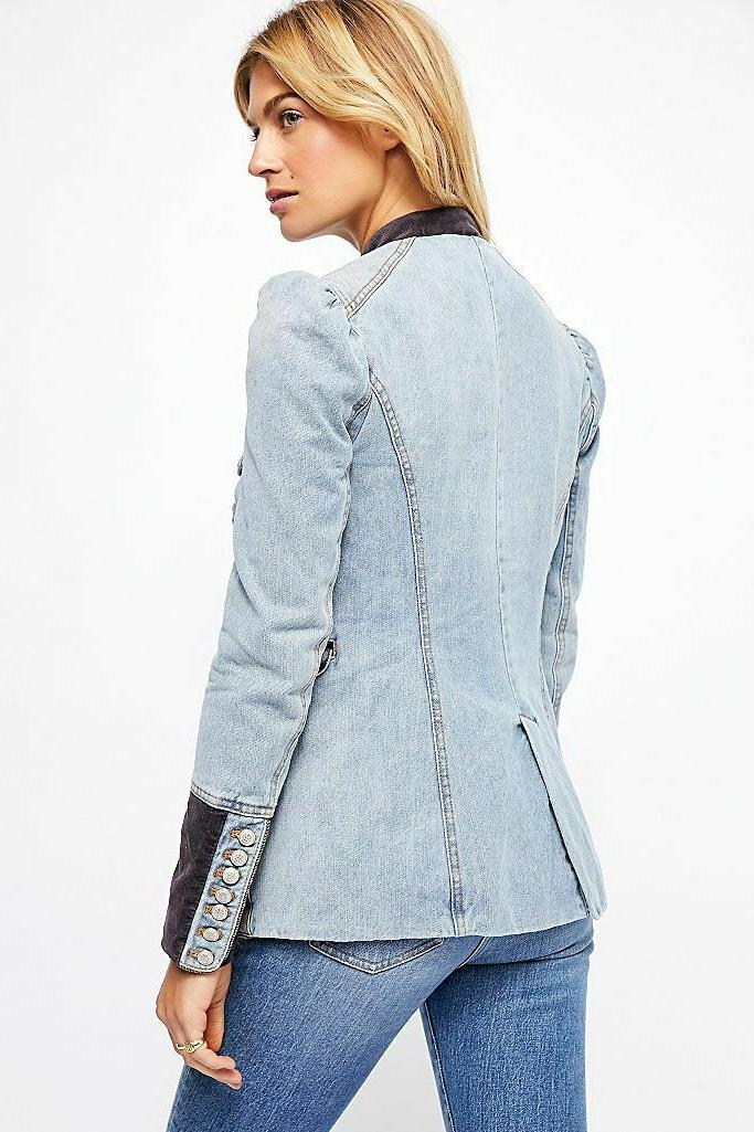 Free Denim And Structured Jacket Button Front New