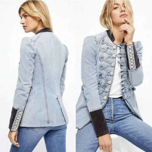 nwt denim seamed and structured military denim
