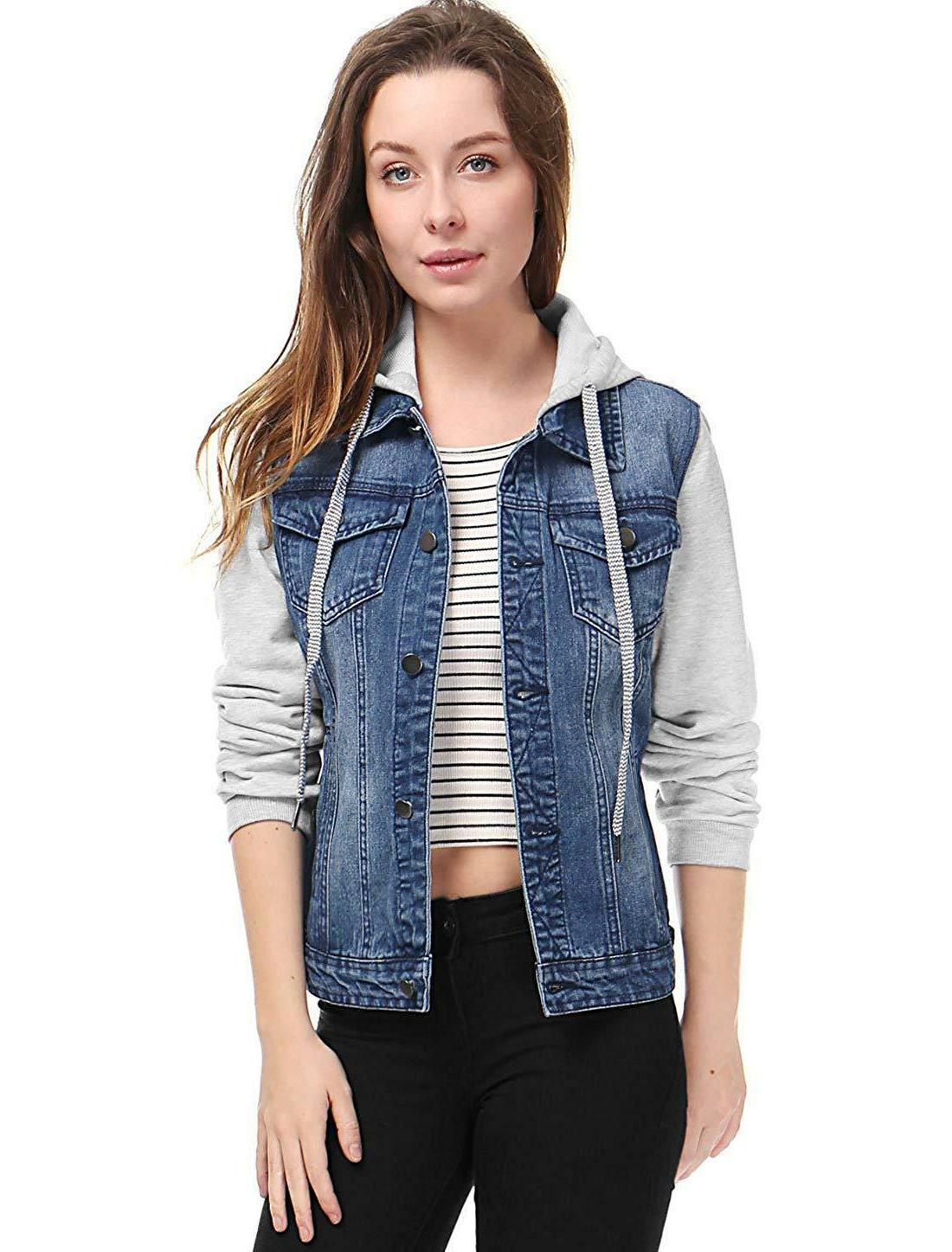 outerwear Women's Layered Drawstring Hood Denim Jacket w Pockets