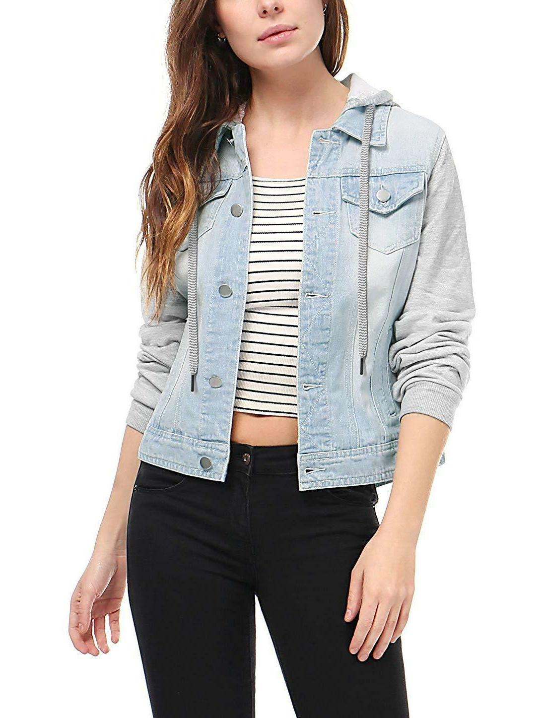 outerwear Fas Layered Drawstring Hood Denim Jacket Pockets