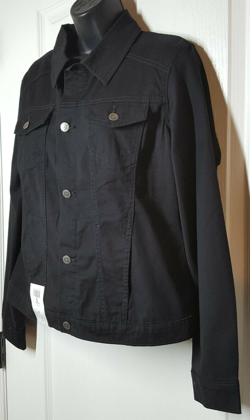 Riders by Women's Fit Denim Black Jacket Size NWT