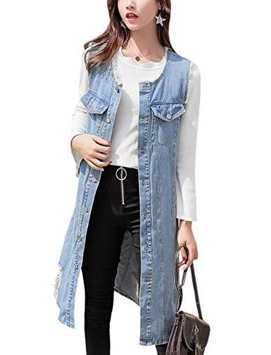 ripped long denim vest distressed
